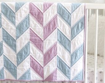 Ella Quilt - Herringbone Quilt - Blue Quilt - Gray Quilt - Baby Quilt - Baby Herringbone Quilt - Purple Quilt