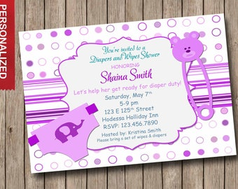 Baby Shower Invitation, Diaper And Wipes Baby Shower Invitation, Baby Boy  Shower Invitation,