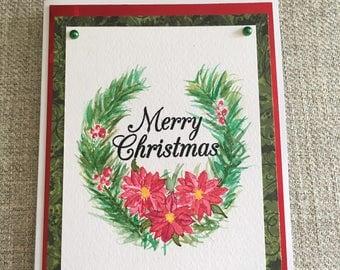 Hand made watercolor Christmas Card
