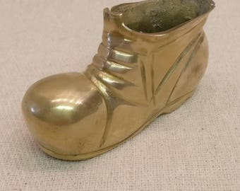 Vintage Solid Brass Boot, ashtray, storage