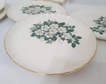 ON SAle, W S George China, WS George Plates,  Salad Plates, White Flower Plates, Vintage China, Tea Party Plates, Vintage Wedding, Small