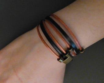 Leatherbracelet 3 double straps