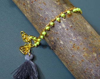 Gold & pistachio green seed bead chain anklet