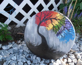 Colors of a Rainbow Garden Stone