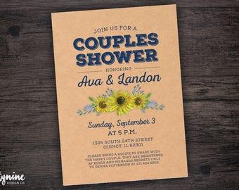 Sunflower Kraft Paper Couples Shower Invitation