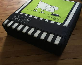 Bed for cat and dog/pet/dog/Green/striped black cushion bed