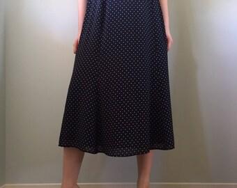 Vintage 80s The Villager Liz Claiborne Navy Polka Dot Long Skirt Size 12