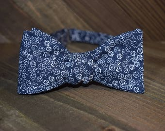 Blue Floral Self Tie Bow Tie