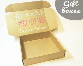 50 Cardboard Boxes With Lids - Square Box, Gift Boxes, Medium Size Corrugated Box, Packaging Supplies, Carton Paper Boxes, Gift Wrapping