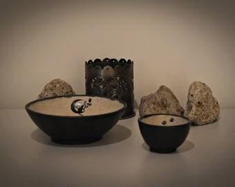 Set of 2 unique handmade tapas bowls with decals cat/cat-cat feet-ceramics-stoneware/cat lover Gift