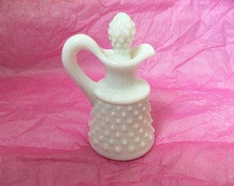 Vintage Fenton Hobnail Milkglass cruet with original stopper