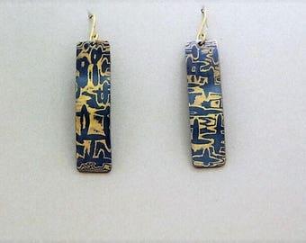Mokume Gane Dangles Copper and Brass