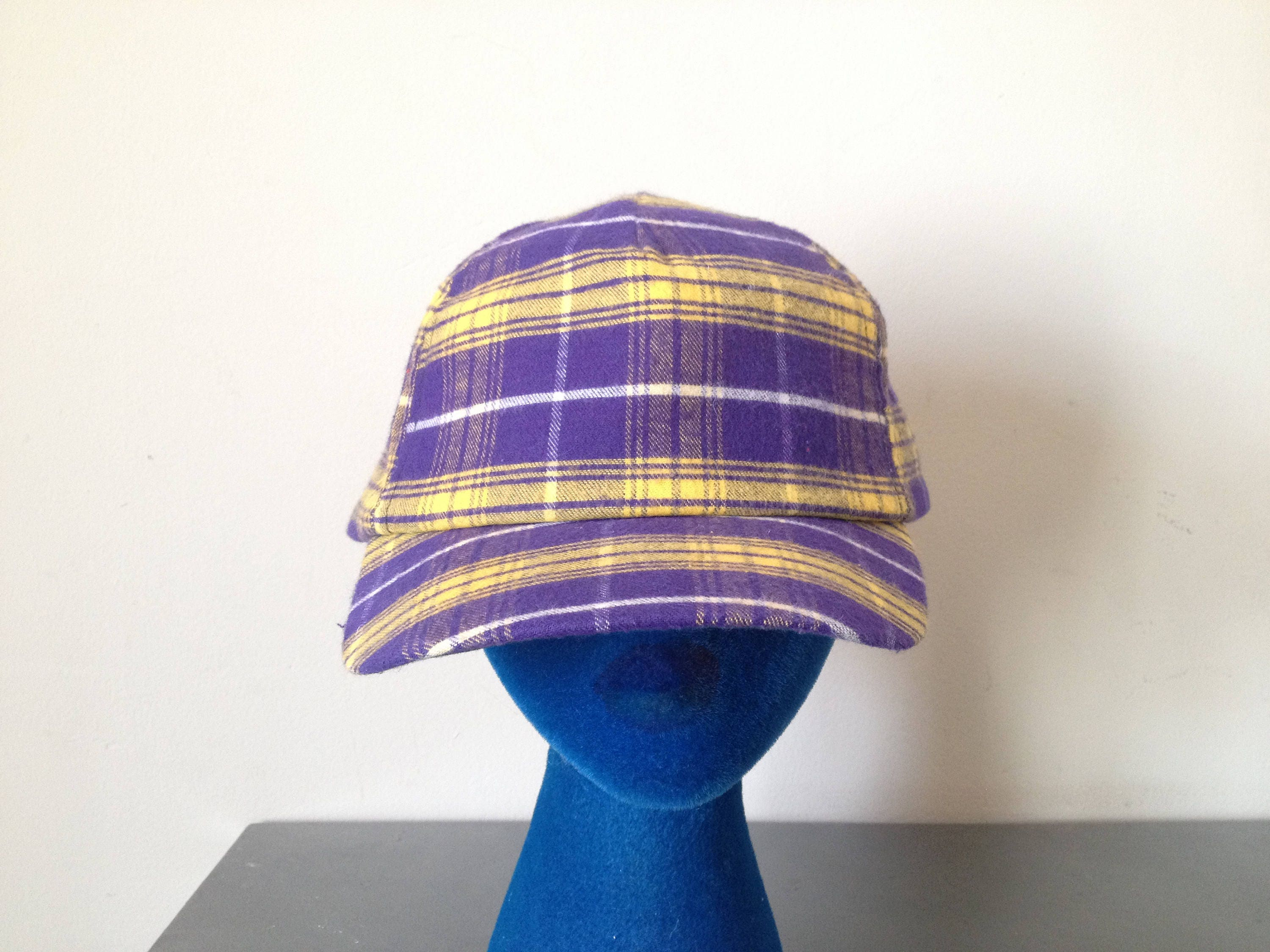 c3e16449f3e Vintage 80 s Purple and Yellow Plaid Fresh Prince Of Bel Air Style Snap  Back Dad Hat