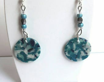 Earrings turquoise and white