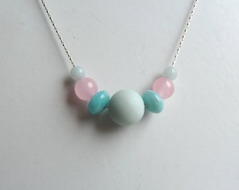 Handmade Amazonite and Rose Quartz semi precious gemstone bead and Sterling silver necklace