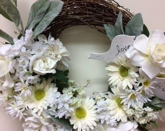 Bridal Wreath—Anniversary Wreath—Wedding Wreath—Sweetheart Wreath—Totally White Wreath