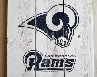 Los Angeles Rams Sign, Handmade Vintage Look Reclaimed Wood Sign, Rams Decor, Gift for Men, Dad, Boyfriend, Boss - Easter Gifts