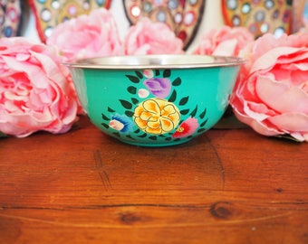 Hand Painted Kashmir Enamelware Gypsy Hippie Floral Glamping Bowl