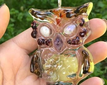 Mineral Owl Sun Catcher
