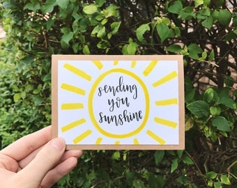 Sending You Sunshine Card - Handmade Rustic Calligraphy Card with Yellow Sun - Single Card