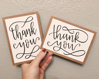 Set of 6 Thank You Cards - Modern Calligraphy Thank You - Kraft paper card with white overlay