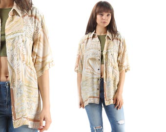 Men's Summer Pattern Shirt 90s Unisex Vintage Beach Shirt Short Sleeve Button Down Shirt Abstract Letters Print Shirt Large