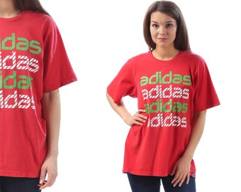 RED ADIDAS Sport T Shirt 90s Spellout Logo Men's Women's Unisex Red White Green Tee 90s Sports Hipster Tee Vintage Shirt Medium to Large