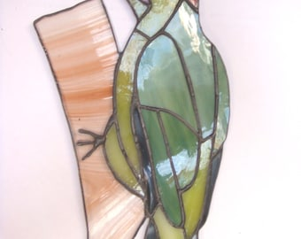 Stained glass Green Woodpecker