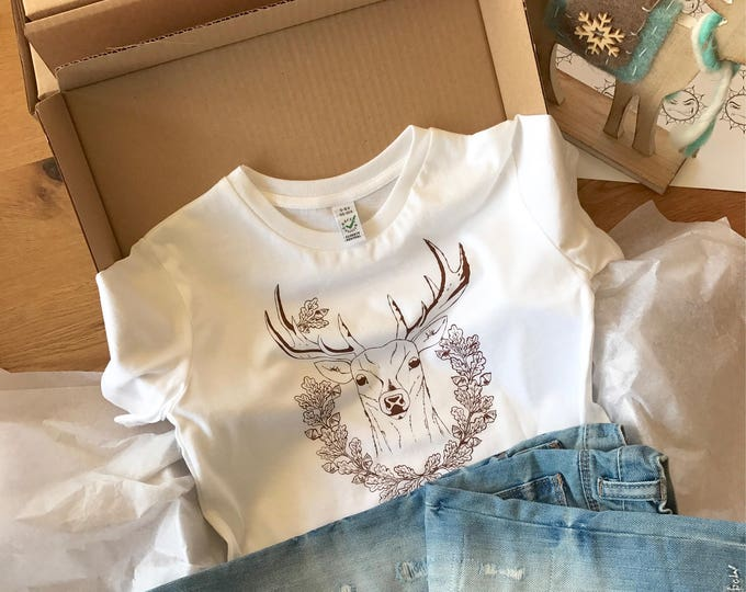 Deer With Acorns - Organic Toddler T-shirt