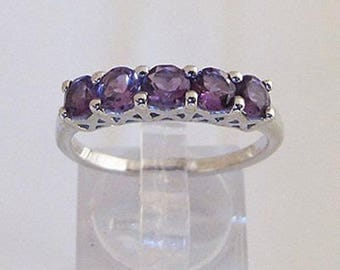 Fashion silver ring and Amethyst purple size 56