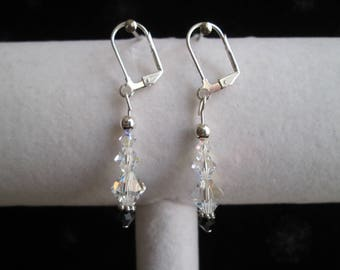 Silver, Black and Clear AB Crystal Earrings