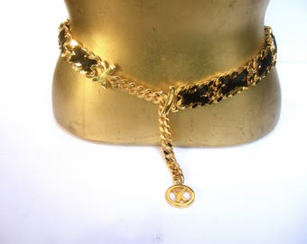 Paloma Picasso Sleek Gilt Metal Black leather Chain Belt