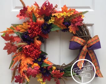 Fall Wreath, Aitumn Wreath, Harvest Wreath, Gourd Wreath, Front Door Wreath, Wreath Street Floral, Grapevine Wreath, Orange Wreath