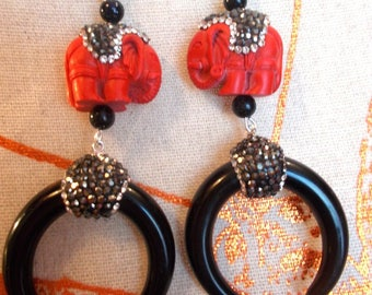 Earrings red natural stone, black and white rhinestones