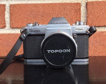 WORKING TOPCON New Battery Included Unirex Vintage SLR 35mm Film Camera with Lens, Case, and Strap Photography Gift