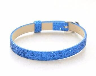 1 blue customize glitter leather bracelet