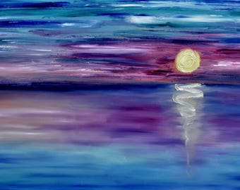 PRINT, Landscape Painting, Unicorn Sunset