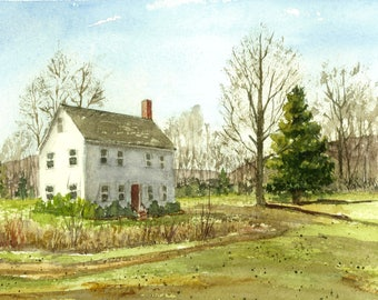 Print Watercolor Painting, Barn, Farmhouse, New England Landscape Watercolor, Rural Landscape, Watercolor Print