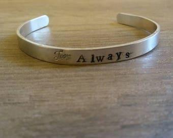 Love Always/cuff bracelet/aluminum cuff/hand stamped/metal bracelet