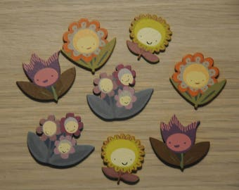 "set of 8 theme ""flowers"" painted wooden embellishments"