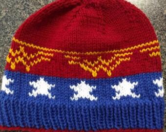Wonder Woman Knit Hat // Superhero, DC, Feminist patterned knit hat