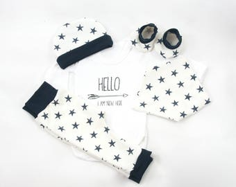 Baby coming home outfit,Hello newborn onesie,new to the world,white and dark blue stars,newborn clothes set,newborn coming home outfit