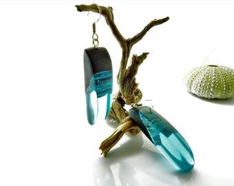 wood resin earrings, statement earrings, unique earrings, wood resin jewelry, ooak earrings , boho earrings, bohemian style, hippie earrings
