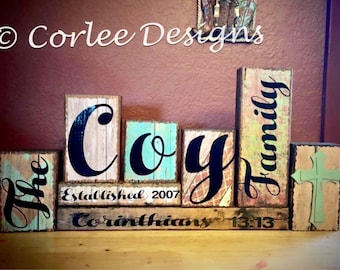 Last name wood blocks