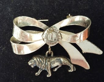 Sterling Lion Brooch