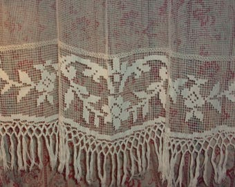 Lace Panel, knotted and embroidered vintage NET curtain