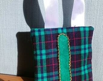 GREEN tartan tooth fairy pouch door-hanger with GREEN letter, GOLD beaded border, and green diagonal pocket on reverse for tooth/coin.