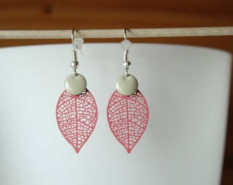 beige sequin and pink filigree leaf earring