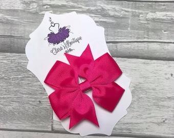 Hair Bow, Hair Clips, Bow Hair Clips, polka dot Denim hair clip, Fabric bow, Pink