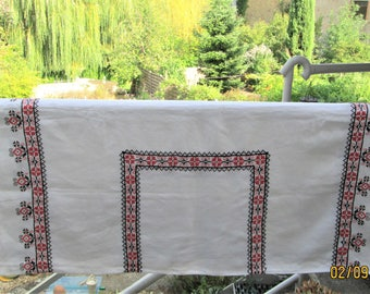 Vintage French Tablecloth, dining table, handmade tablecloths, table coverings, cotton covers, red & black designs